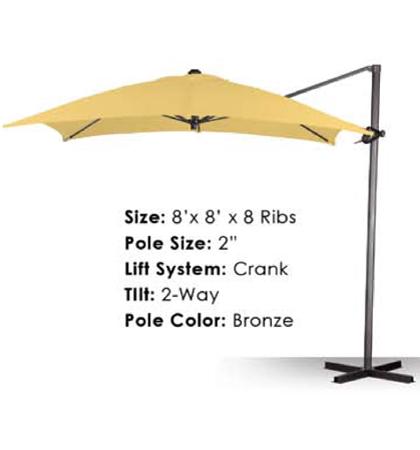8' x 8' Cantilever Crank-Tilt Umbrellas