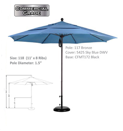 11' Aluminum-Fiberglass Pulley-Open Umbrellas