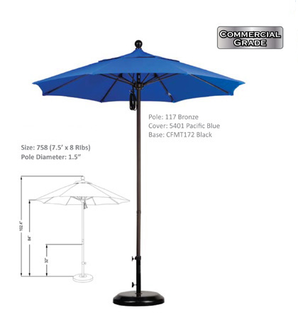 7.5' Aluminium-Fiberglass Pulley-Open Umbrellas