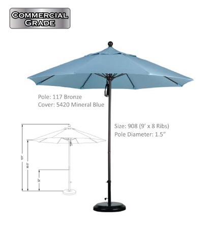 9' Aluminum-Fiberglass Pulley-Open Umbrellas