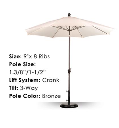 9' Fiberglass Crank-Tilt Umbrellas
