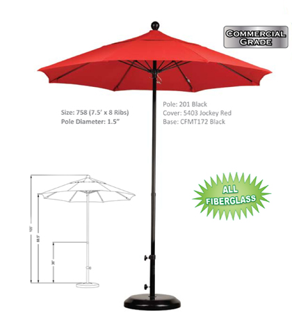 7.5' Fiberglass Push Open Umbrellas