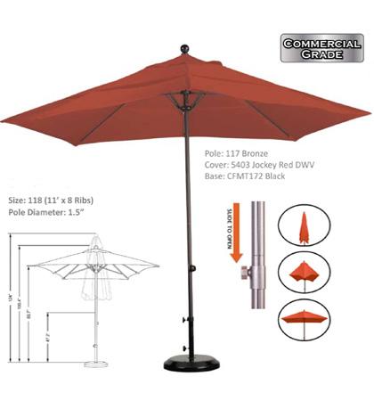 11' Aluminum-Fiberglass Slide-Open Umbrellas