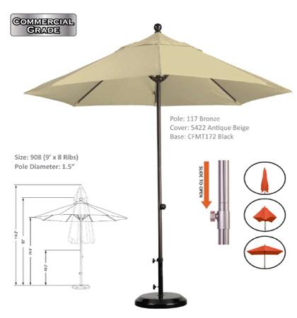 9' Aluminum-Fiberglass Slide Open Umbrellas