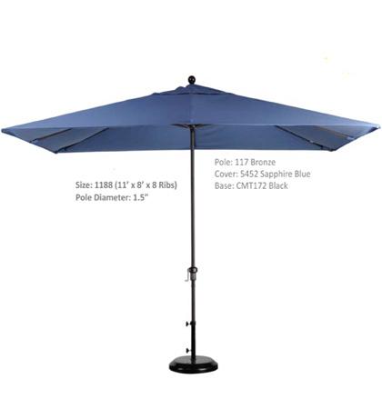 11' x 8' Aluminum Crank Lift Umbrellas