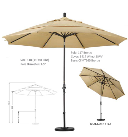 11' Aluminum Crank Lift Collar Tilt Umbrellas