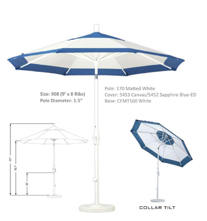 9' Aluminum Crank Lift Collar Tilt Umbrellas