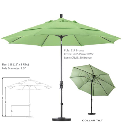 11' Fiberglass Crank Lift Collar Tilt Umbrellas