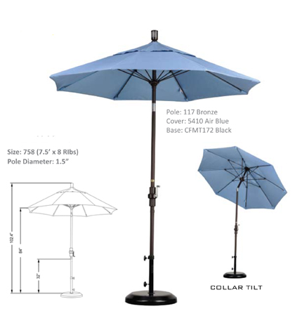 7.5' Fiberglass Crank Lift Collar-Tilt Umbrellas