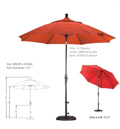 9' Fiberglass Crank Lift Collar-Tilt Umbrellas