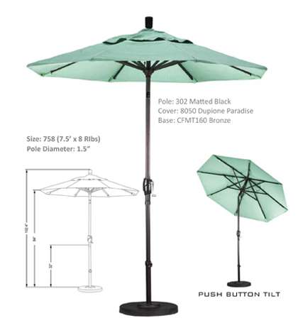 7.5' Aluminum Crank Lift Push Tilt Umbrellas