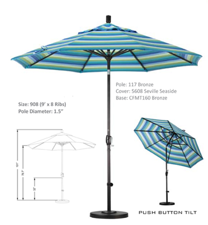 9' Aluminum Crank Lift Push Tilt Umbrellas