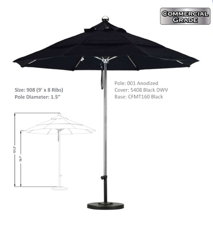 9' Fiberglass Pulley Open Single Pole Umbrellas