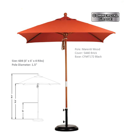 6' x 6' Marenti Hardwood Pulley Open Umbrellas