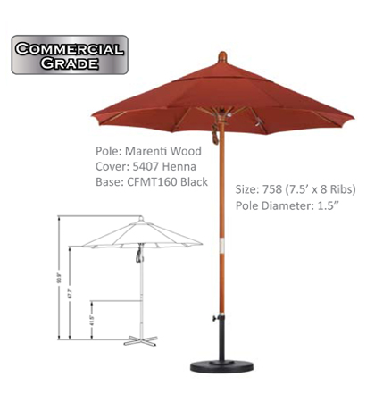 7.5' Marenti Hardwood Pulley-Open Umbrellas