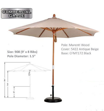 9' Marenti Hardwood Pulley-Open Umbrellas