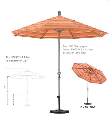 9' Aluminum Crank-Auto Tilt Umbrellas