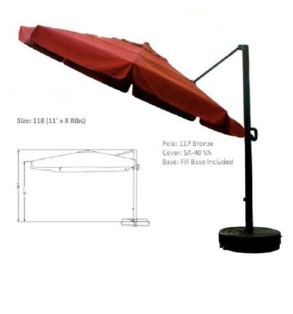 11' Cantilever Crank-Peddle Release Umbrellas
