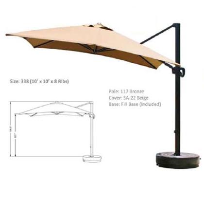 10' x 10' Cantilever Crank-Peddle Release Umbrellas