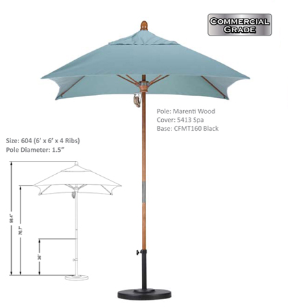 6' x 6' Marenti Hardwood Fiberglass Pulley-Open Umbrellas