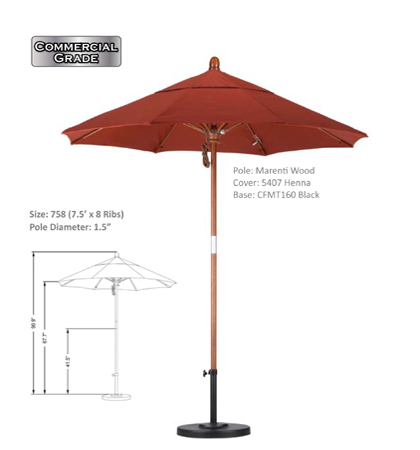 7.5' Marenti Hardwood Fiberglass Pulley-Open Umbrellas