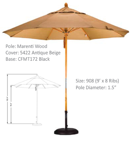9' Marenti Hardwood Fiberglass Pulley-Open Umbrellas