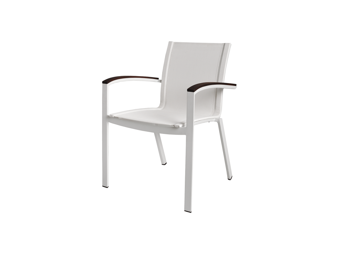 Stacking Sling Arm Chair/ White