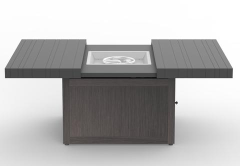 42'' Square fire Table with Brown (Pecan) Slatted Top