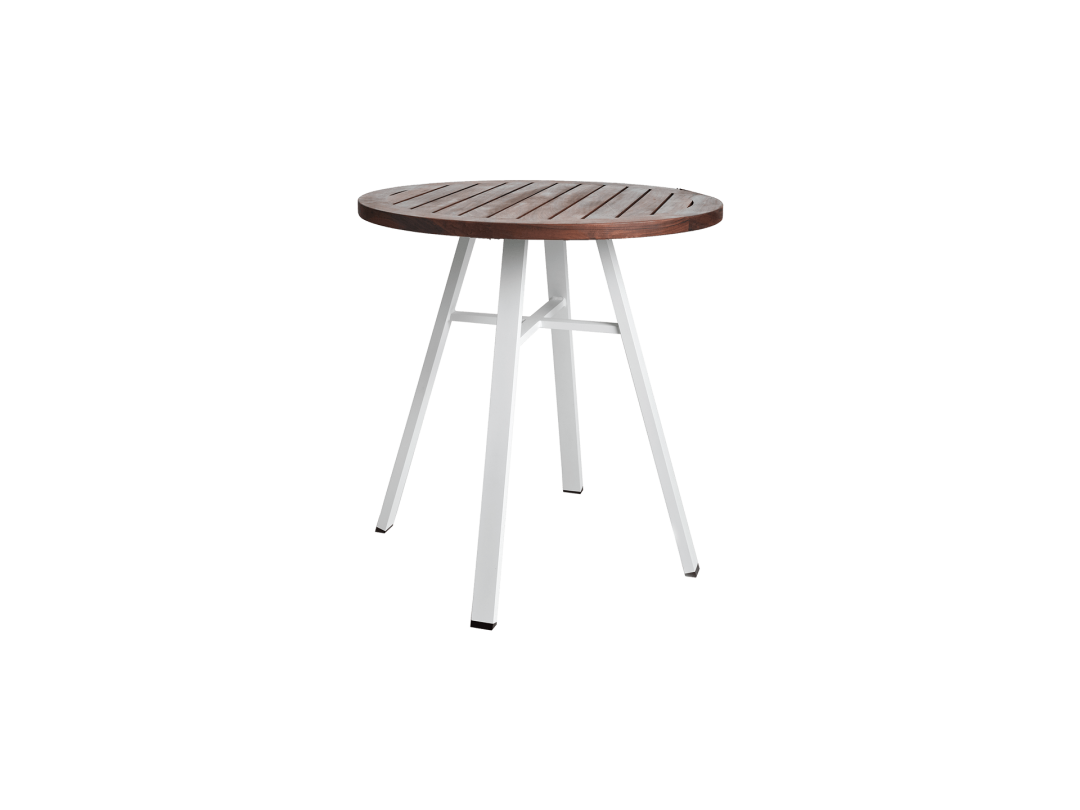 "29"" Round Bistro Table/ White w/ Ipe Top"