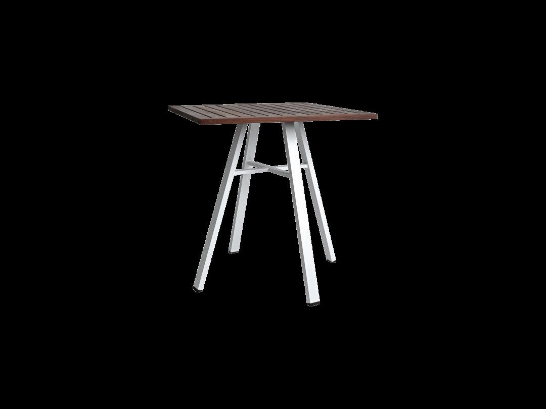 """29"""" Square Bistro Table/ White w/ Ipe Top"""