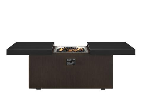 """24"""" x 48"""" Rectangle Fire Table in Wenge Stamped Slatted Base with Black Top"""
