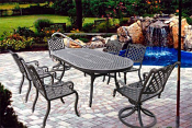 """Athena Dining Set: 4-Dining Arm Chairs, 2-Swivel Rockers, 1-84""""X42"""" Cast top oval table."""