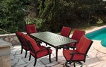 "Chesapeake Dining Set: 4-Dining Arm Chairs, 2-Swivel Rockers, 1-86""X44"" Rect. Cast top table."