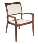 Stacking Sling Arm Chair/ Brown