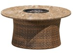 "42"" Rd Woven Base and Granite Top Firepit w/ Glass"
