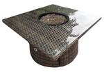 "42"" Sq Standard Woven Base and Woven Top Firepit w/ Glass"
