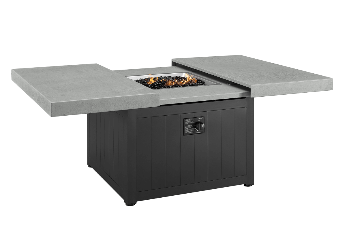 """42"""" Square Fire Table with Black Base and Charcoal Stamped Slatted Top"""