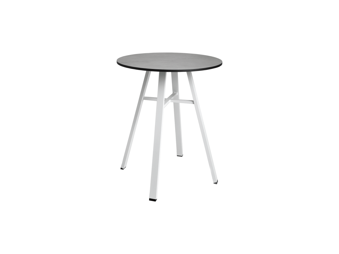 "29"" Round Bistro Table/ White w/ Dark Gray HPL Top"