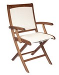 Folding Sling Arm Chair/ Brown