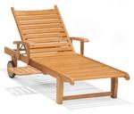 Teak Balboa Single Adjustable Chaise Lounge with Arms